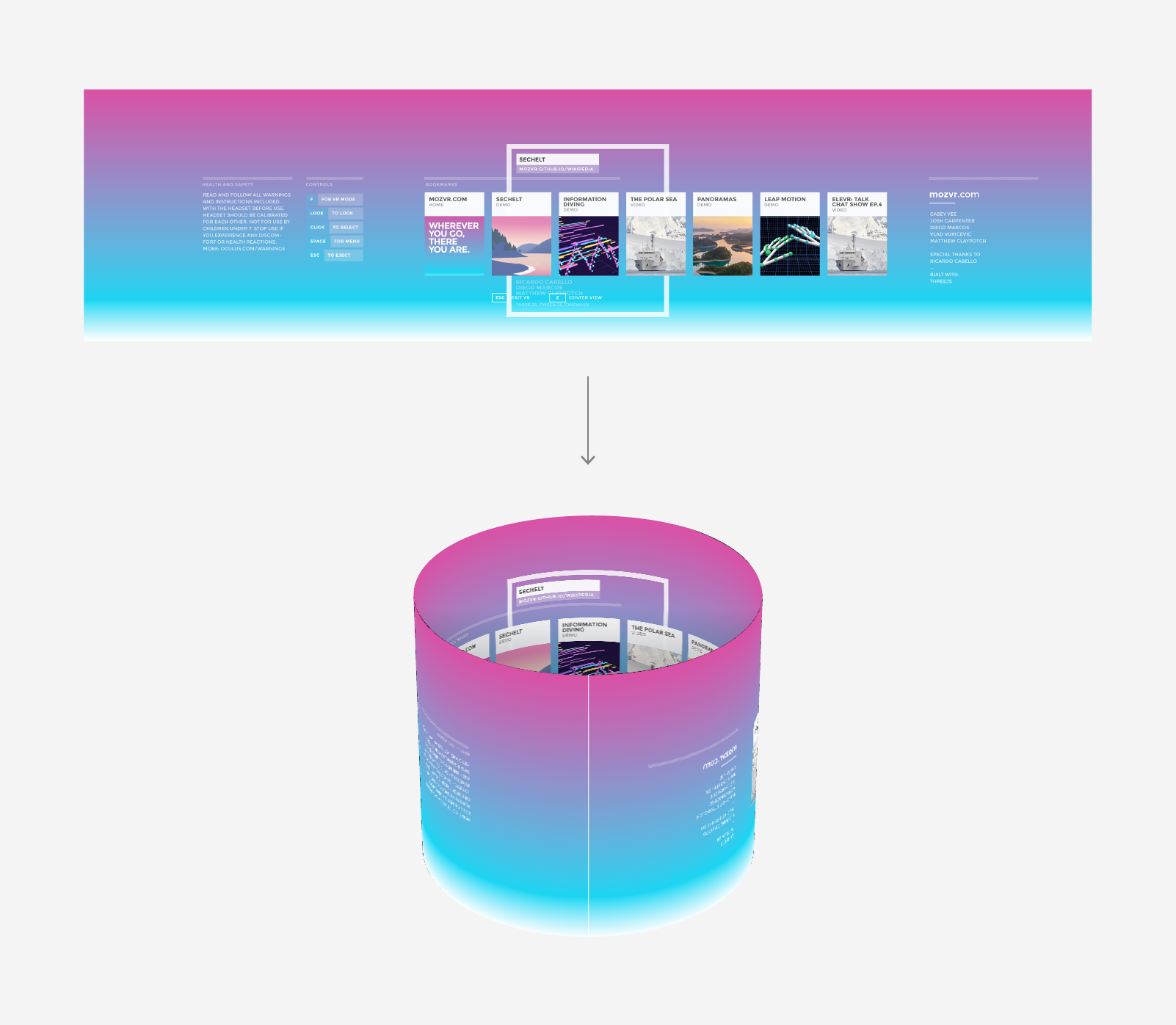 Top: our Illustrator layout. Bottom: our layout mapped onto a WebGL cylinder.