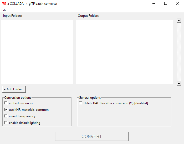 Screenshot of  program: a COLLADA-to-glTF batch converter