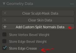 "Blender: ""Geometry Data"" settings: Before"