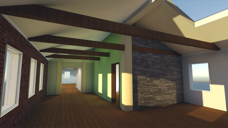 Interior of a virtual home made with modular 3d kit