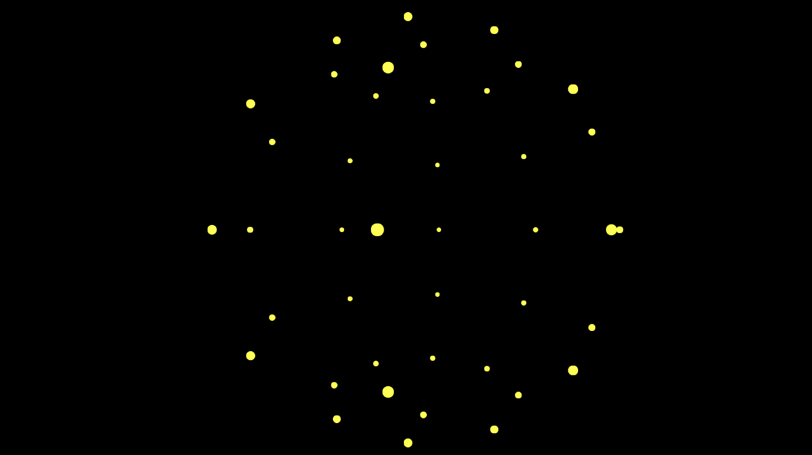 Sphere rendered as points with yellow dot textures.
