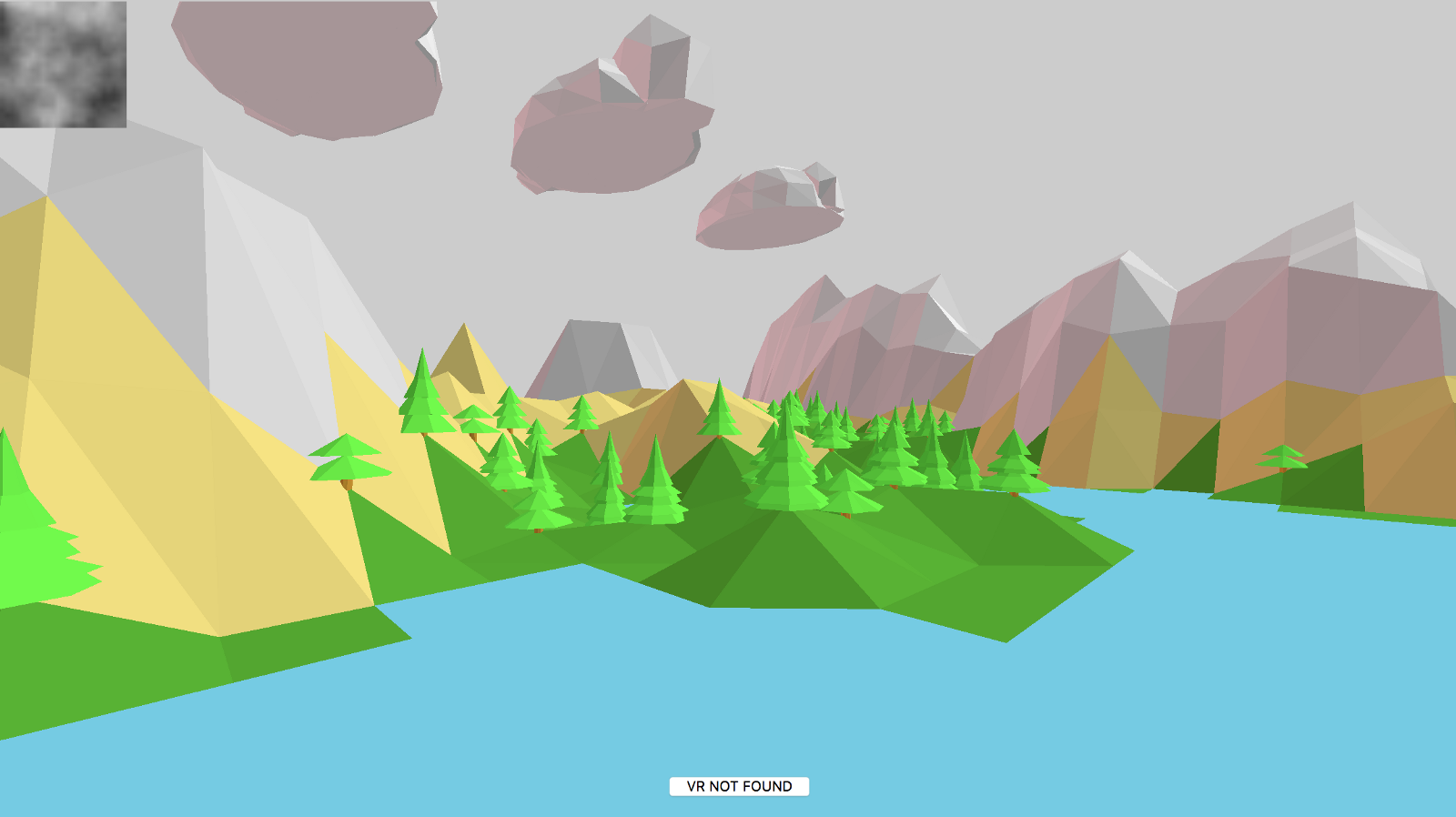 Terrain with trees and clouds
