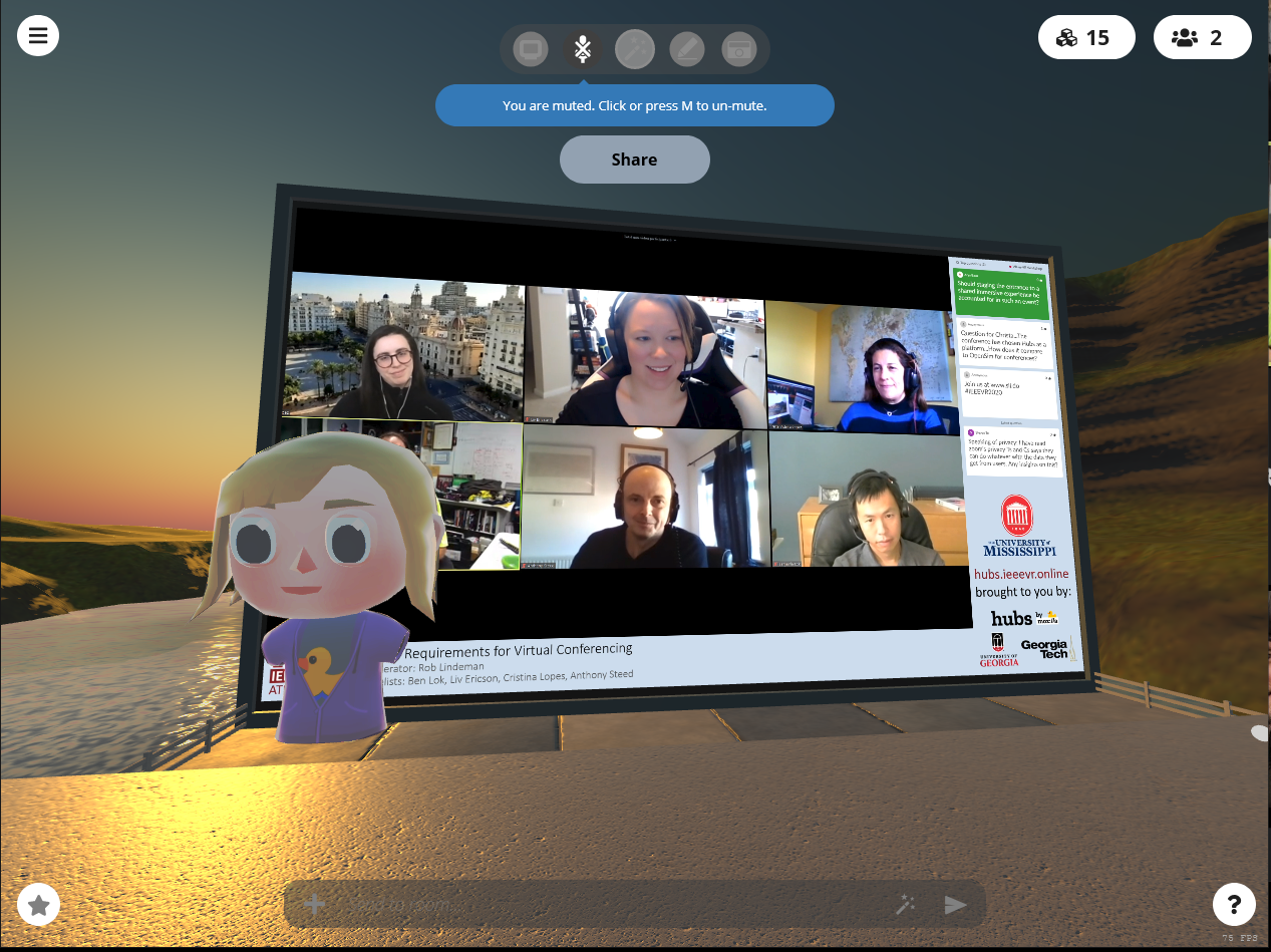 An avatar watches a Zoom video conferencing call from inside Mozilla Hubs
