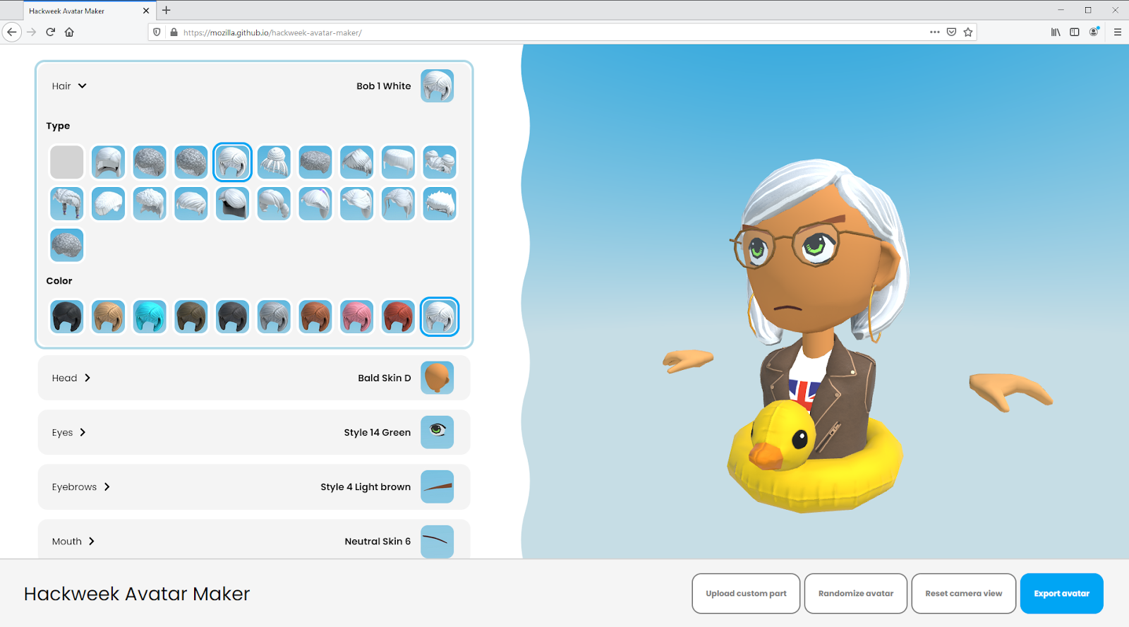A screenshot of an avatar editor with configurable pieces and a photo of the finished avatar