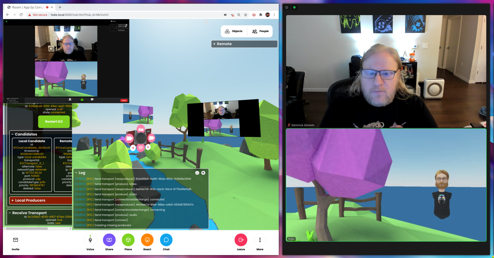 A Hubs room with a Zoom window inside, and a Zoom window with a participant joining as an avatar in Hubs