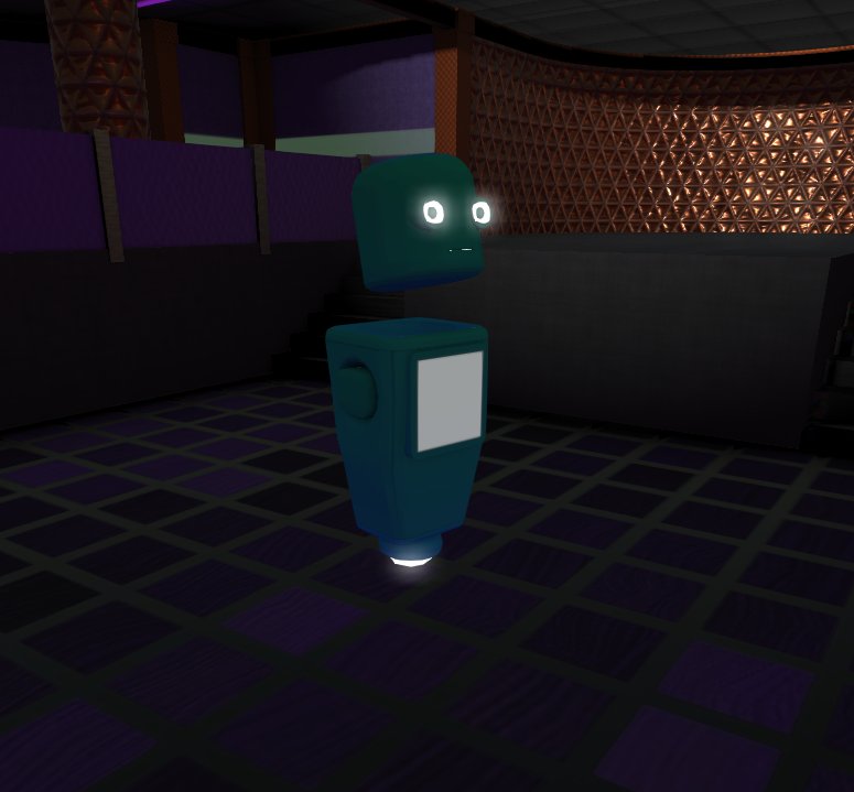 A robot avatar with glowing eyes
